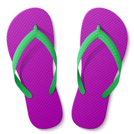 白い背景で隔離のフリップフ ロップ。トップ ビューのビーチ サンダル。履き物、レクリエーション、旅行、ビーチでの休暇、祝日、夏の靴に関す  イラスト・ベクター素材