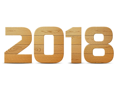 New Year 2018 of wood isolated on white background. Wooden planks in shape of year number. Design element for new years day, christmas, woodworking, winter holiday, new years eve, silvester, etc
