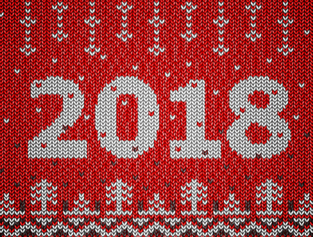 Card of New Year 2018 with knitted texture. Christmas jumper fragment with 2018 New Year. Best vector illustration for new years day, christmas, winter holiday, new years eve, knitting, silvester, etc