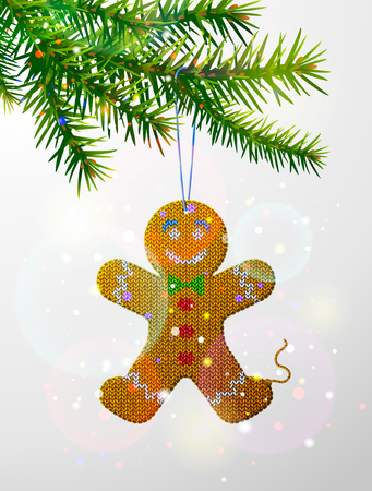 Christmas tree branch with knitted gingerbread man. Christmas ornament of knitted fabric hanging on pine twig. Vector image for christmas, new years day, decoration, winter holiday, tradition, etc