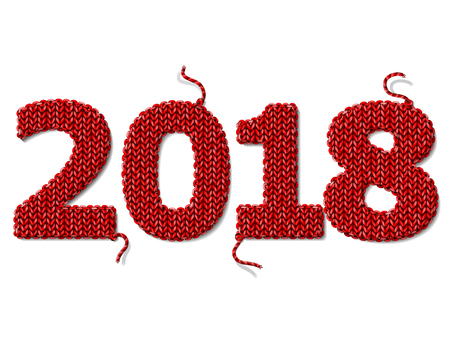 New Year 2018 of knitted fabric isolated on white. Fragments of knitting in shape of number 2018. Vector design element for new years day, christmas, winter holiday, new years eve, silvester, etc
