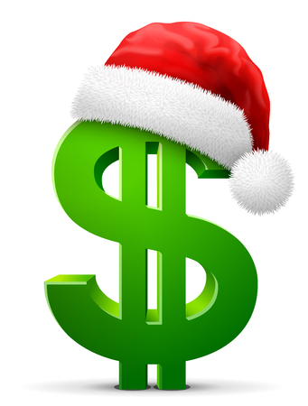 Dollar symbol in red Santa Claus hat. Christmas hat is put on money sign. Best vector illustration for christmas, banking, new years day, business, decoration, financial industry, winter holiday , etc Ilustracja