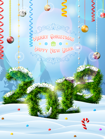New Year 2018 of christmas tree twigs in snow. Winter landscape with pine branches, decoration, congratulation. Vector image for new years day, christmas, winter holiday, new years eve, silvester, etc Illustration