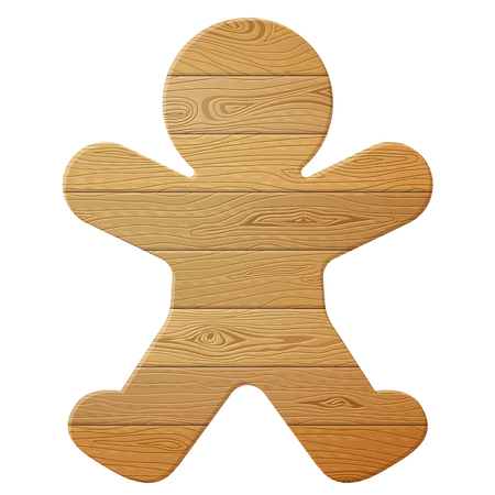 Gingerbread man of wood isolated on white background. Wooden planks in shape of christmas cookie. Vector image for christmas, new years day, woodworking, winter holiday, decoration, silvester, etc