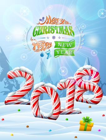 christmas greeting card: New Year 2018 in shape of candy stick in snow. Winter landscape with candies, gift box, congratulation. Vector image for new years day, christmas, sweet-stuff, winter holiday, new years eve, food, etc Illustration