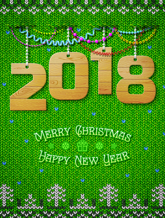 christmas greeting card: New Year 2018 of wood as christmas decoration. Christmas congratulation against knitted background. Best vector illustration for new years day, christmas, winter holiday, new years eve, silvester, etc Illustration
