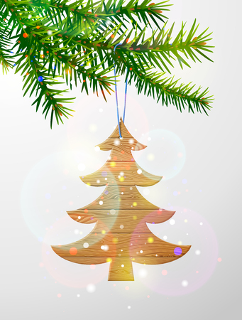 Christmas tree branch with decorative wooden pine tree. Wooden planks in shape of christmas tree hanging on pine twig. Vector image for christmas, new years day, decoration, winter holiday, tradition