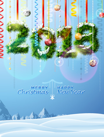 christmas greeting card: New Year 2018 of twigs like christmas decoration. Winter landscape with christmas congratulation. Best vector illustration for new years day, christmas, winter holiday, new years eve, silvester, etc