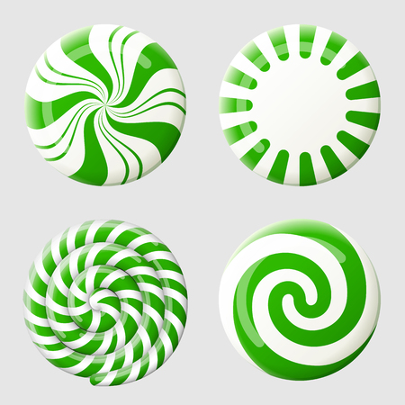 swirl: Christmas round candy set. Striped peppermint candies without wrapper. Best vector design element for christmas, new years day, dessert, winter holiday, sweet-stuff, new years eve, food, etc
