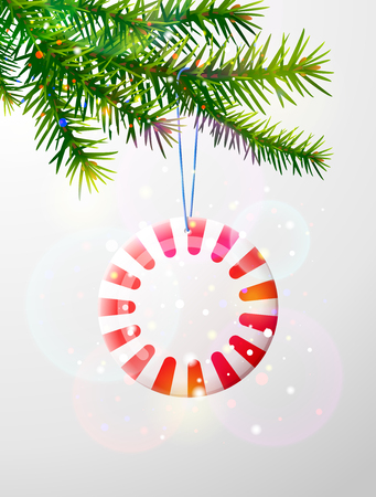 Christmas tree branch with round candy. Striped peppermint lollipop hanging on pine twig. Best vector image for christmas, new years day, decoration, winter holiday, sweet-stuff, new years eve, etc
