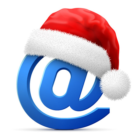 Email symbol in red Santa Claus hat. Christmas hat is put on mail sign. Best vector illustration for christmas, internet, new years day, email, decoration, winter holiday , etc