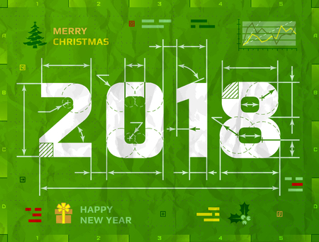 New Year 2018 as technical blueprint drawing. Drafting of 2018 on crumpled paper. Best vector illustration for new years day, christmas, winter holiday, new years eve, engineering, silvester, etc