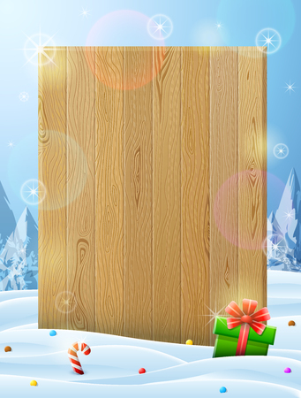 Blank wooden board sticking out of snow. Christmas template with winter landscape and gift. Best vector layout for new years day, christmas, winter holiday, new years eve, silvester, etc Illustration