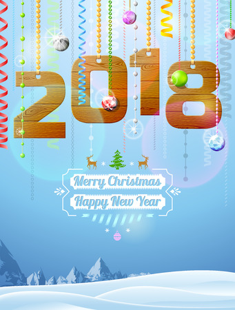 New Year 2018 of wood like christmas decoration. Winter landscape with christmas congratulation. Best vector illustration for new years day, christmas, winter holiday, new years eve, silvester, etc Illustration