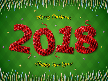 New Year 2018 in shape of knitted fabric on checkered background. Christmas wishes surrounded by colored threads. Vector image for new years day, christmas, winter holiday, new years eve, silvester Ilustração