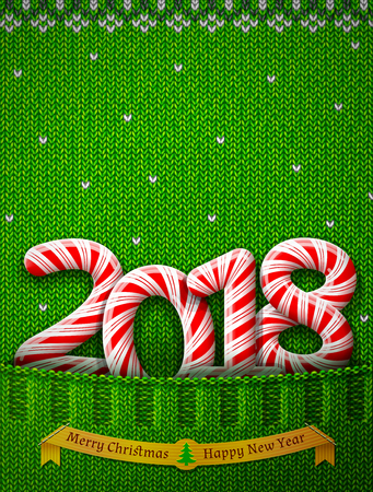 New Year 2018 in shape of candy stick in knitted pocket. Sweater fragment with year number as holiday candies. Vector image for new years day, Christmas, sweet-stuff, winter holiday, new years eve. Illustration