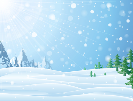 Daytime snowy scene with ridge and Christmas trees. Snowfall against winter landscape of mountains and pines.