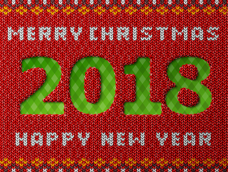 New Year 2018 as hole in knitted background. Fragment of knitwear with year number and holiday wishes.