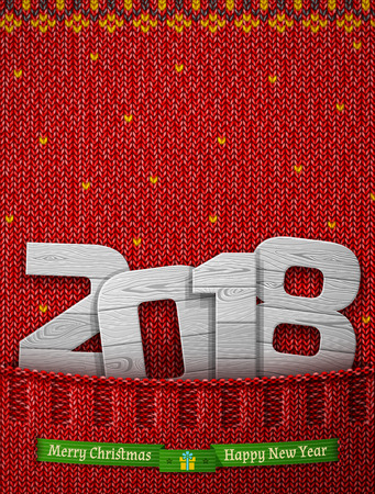 Holiday vector 2018 in knitted pocket vector Illustration