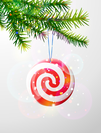 Christmas tree branch with round candy vector