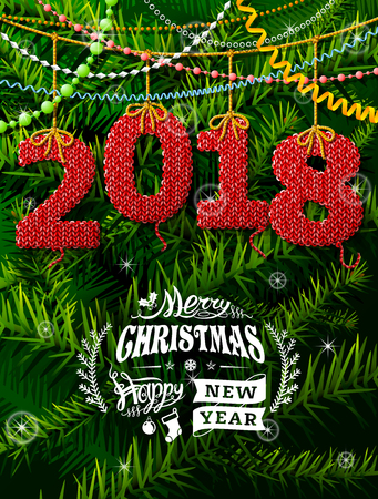 New Year 2018 in shape of knitted fabric against pine branches. Christmas wishes with decoration. Best vector illustration for new years day, christmas, winter holiday, new years eve, silvester, etc