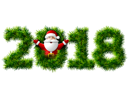 New Year 2018 of tree branches isolated vector