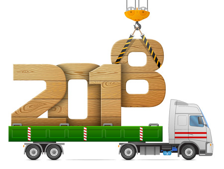 Crane loads New Year 2018 of wood. Big wooden year number in back of truck. Best vector image for new years day, christmas, transportation, winter holiday, new years eve, trucking, silvester, etc