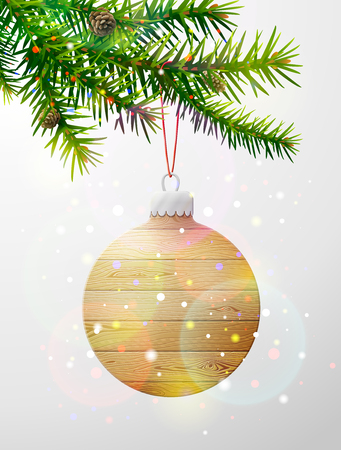 Christmas tree branch with decorative bauble of wood. Wooden christmas tree ball hanging on pine twig. Vector image for christmas, new years day, decoration, winter holiday, design, new years eve, etc