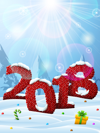 New Year 2018 in shape of knitted fabric in snow. Winter landscape with year number, top lighting. Best vector image for new years day, christmas, winter holiday, knitting, new years eve, silvester Ilustração