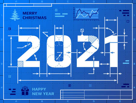 Stylized drafting of 2021 on blueprint paper. Vector illustration for new years day, christmas, winter holiday, new years eve, engineering, silvester, etc Vecteurs