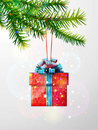 Christmas tree branch with gift box. Red gift decorated with blue ribbon and bow hanging on pine twig. Vector image for christmas, new years day, design, winter holiday, decoration, silvester, etc