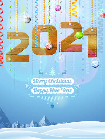 New Year 2021 of wood like christmas decoration. Winter landscape with christmas congratulation. Vector illustration for new years day, christmas, winter holiday, new years eve, silvester, etc Çizim