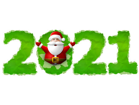 New Year 2021 of crumpled paper isolated on white background. Santa Claus is sticking out of hole in paper with his hands up. Vector image for new years day, christmas, winter holiday, silvester, etc