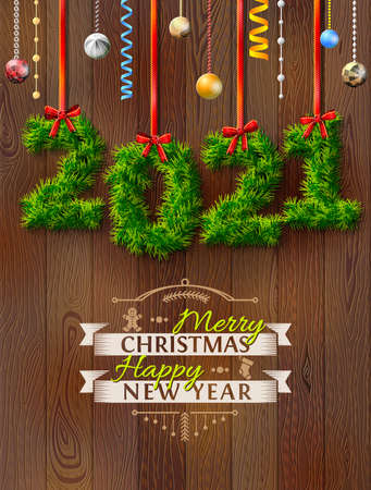 New Year 2021 of twigs like christmas decoration. Christmas congratulation against wood background. Vector illustration for new years day, christmas, winter holiday, new years eve, silvester, etc