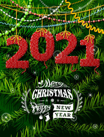 New Year 2021 in shape of knitted fabric against pine branches. Christmas wishes with decoration. Vector illustration for new years day, christmas, winter holiday, new years eve, silvester, etc