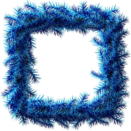 Christmas square wreath without decoration. Empty wreath of blue pine branches isolated on white background. Vector illustration for new years day, christmas, decoration, winter holiday, design, etc Çizim