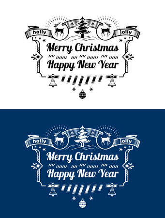Merry Christmas, Happy New Year lettering logo design. Holiday wishes in black and white color. Vector image for christmas, new years day, greeting card, winter holiday, label, new years eve, banner