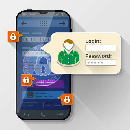 Smartphone with message bubble about login. Dialog box pop up over screen of phone. Vector image about smartphone, sign in, mobile technology, authorization, identification, etc
