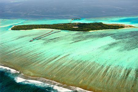 Multi color ocean near Maldives Stock Photo