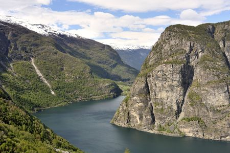 The turn of the quiet river between mountains in Norway