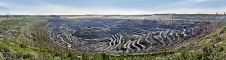 Panorama of ore mining and processing enterprise (Russia). The bigest re mining and processing enterprise in Europe. Stock Photo