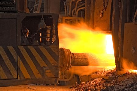 stove pipe: Ukrainian metallurgical works. Pipe rolling machinery. Stock Photo