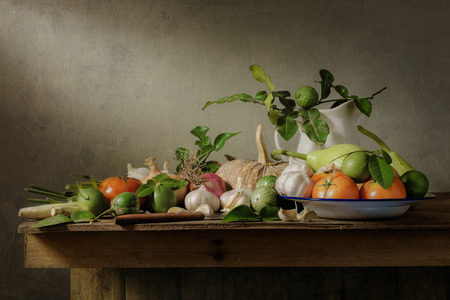 Still life with vegetables on wood table Banco de Imagens