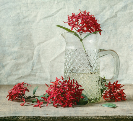 colorful still life: Still life flowers with Red Rubiaceae and glass jar on wood table
