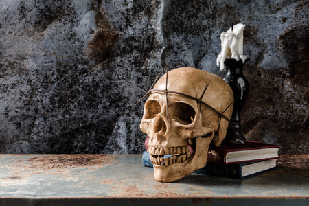 wicca: Still life with skull, book, and candle on rusty steel board background Stock Photo