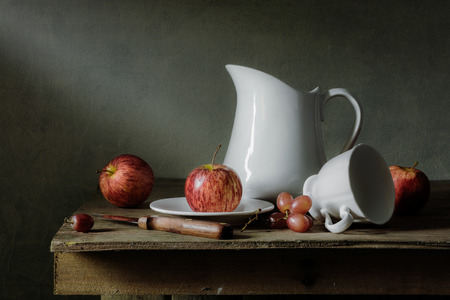 tableware life: Still life with fruits and tableware