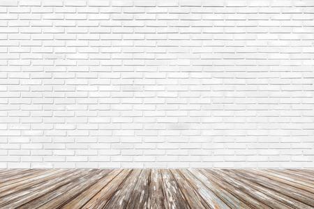 brick floor: Brick wall background with wood floor Stock Photo
