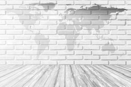 World map on white brick as a background stock photo picture and world map on white brick wall background with wood terrace photo gumiabroncs Gallery
