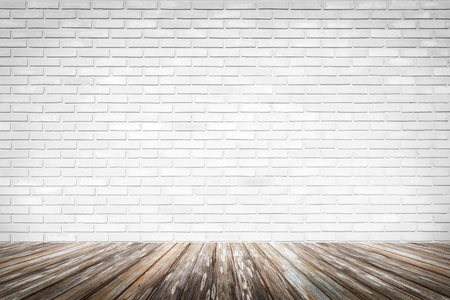 Brick wall background with wood floor Stock Photo