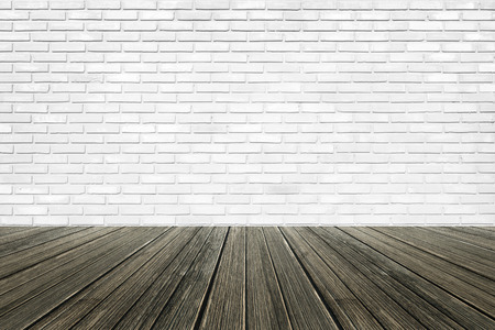 Brick wall background with wood floor Stockfoto